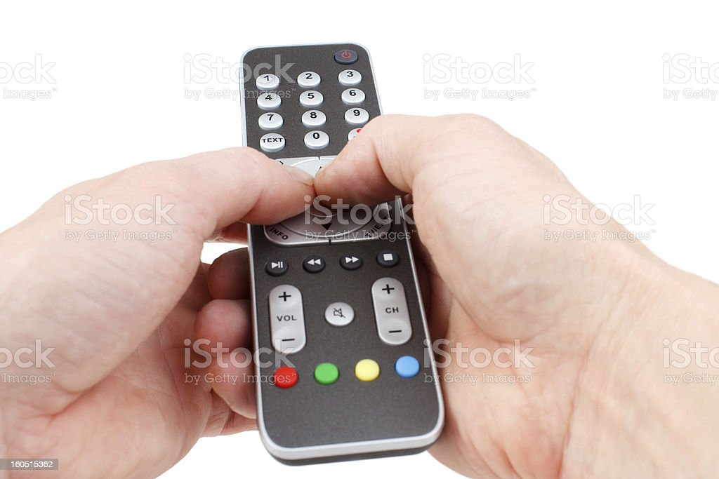 Using remote controller royalty-free stock photo