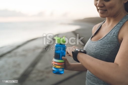 istock Using smart devices to track performance. 1186202622