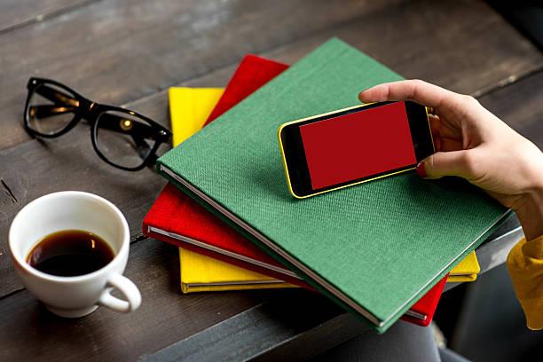 Using smart phone stock photo