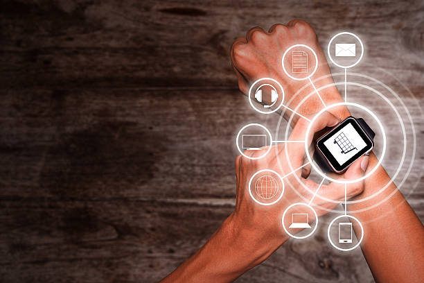 Using smart watch for omnichannel stock photo