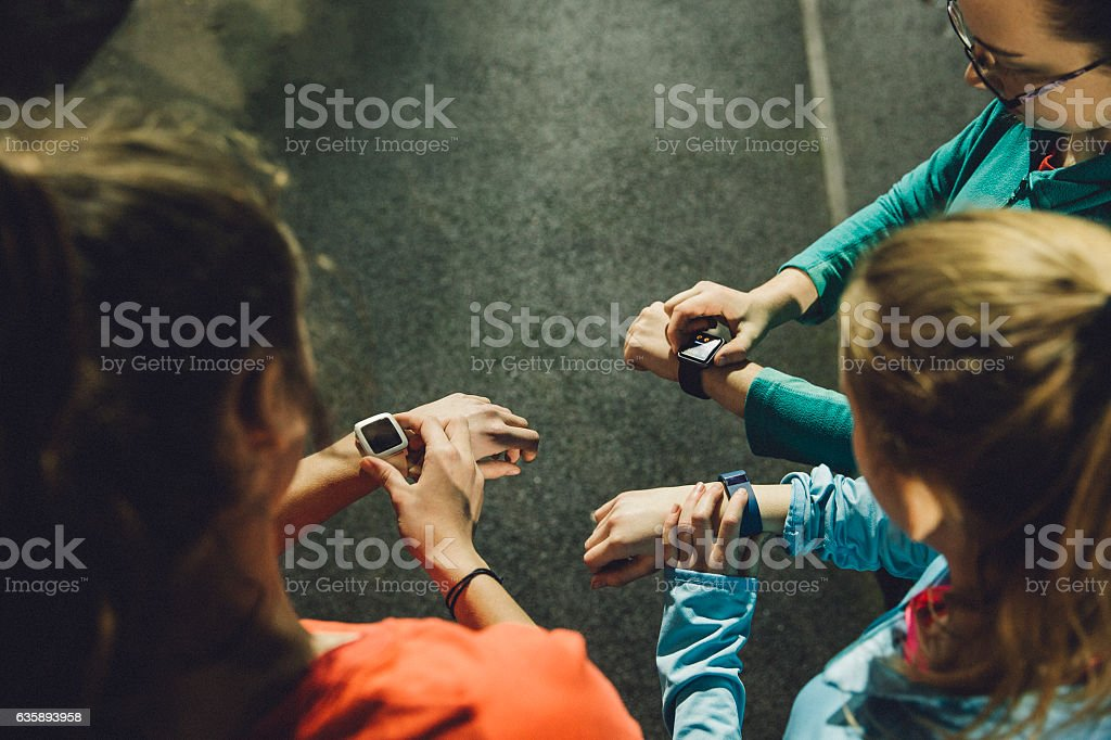 Using Smart Watches While Training stock photo