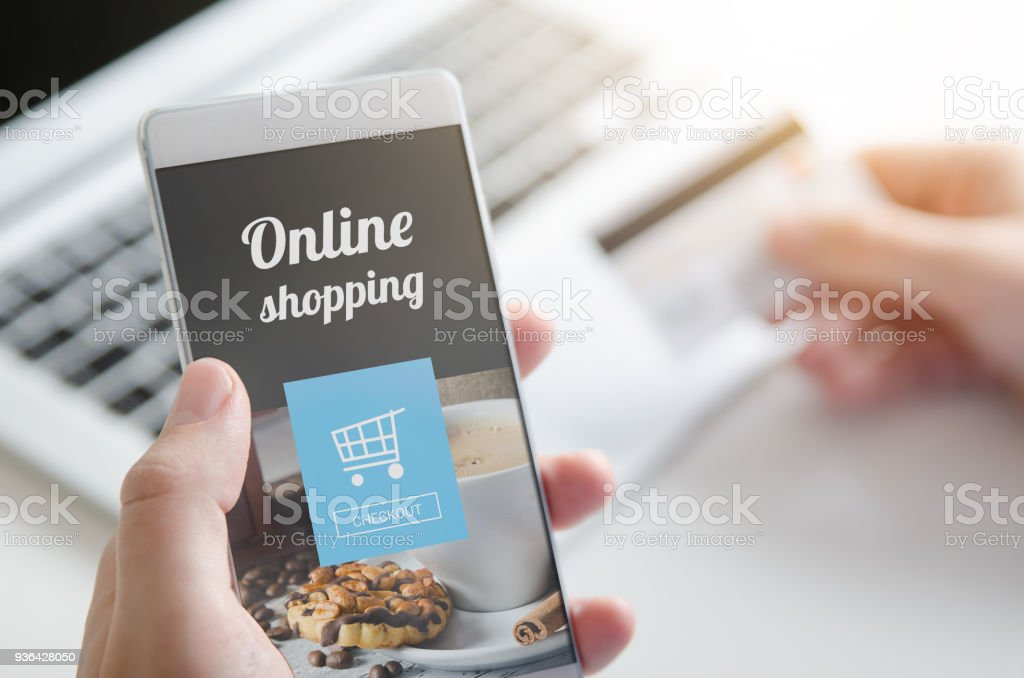 Using smartphone for online shopping. Credit card internet pay. – zdjęcie