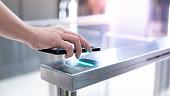 istock Using smartphone to open automatic gate machine 1150704242
