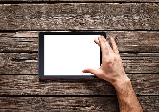 Using spread gesture on touchscreen stock photo