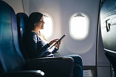Using tablet on an airplane ride