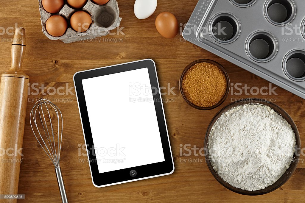 Mit Tablet pc für Gebäck receipe – Foto
