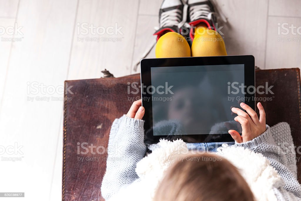 Using tablet stock photo