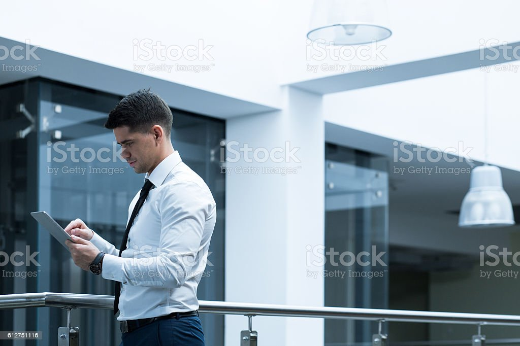 Using technology in everyday duties stock photo