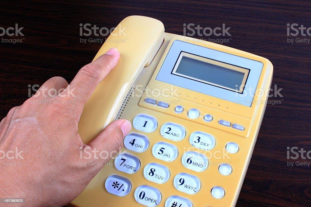 Using telephone stock photo
