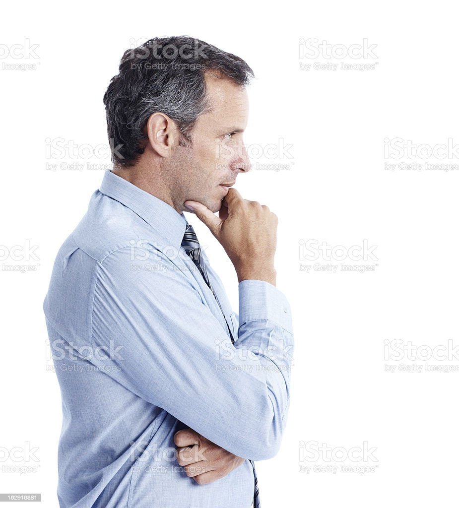 Using that incredibly sharp business mind of his - Copyspace stock photo