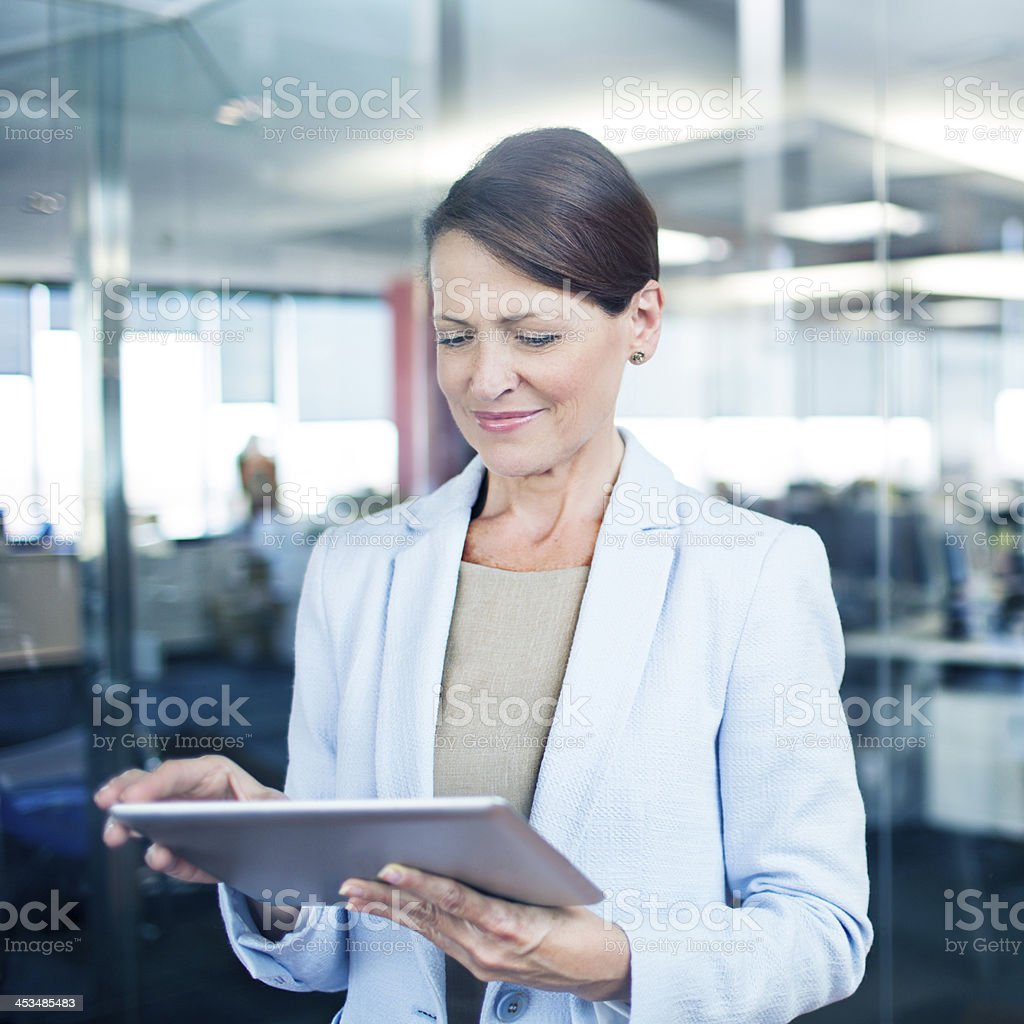 Using the digital tablet royalty-free stock photo