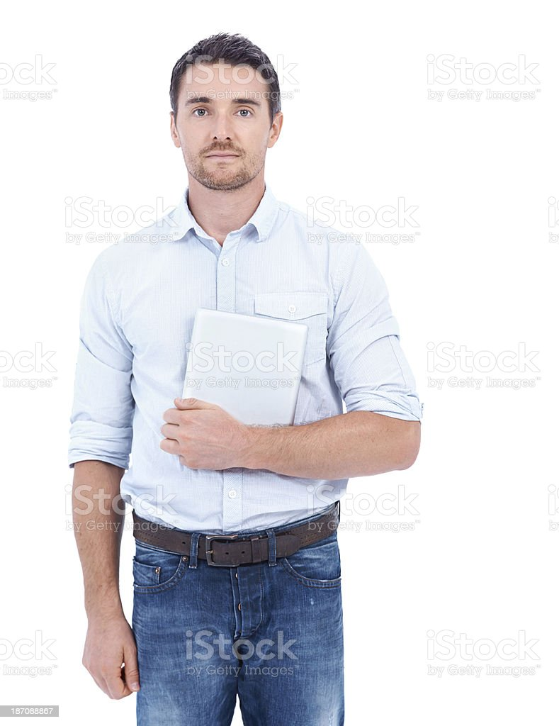 Using the latest technology to his advantage royalty-free stock photo