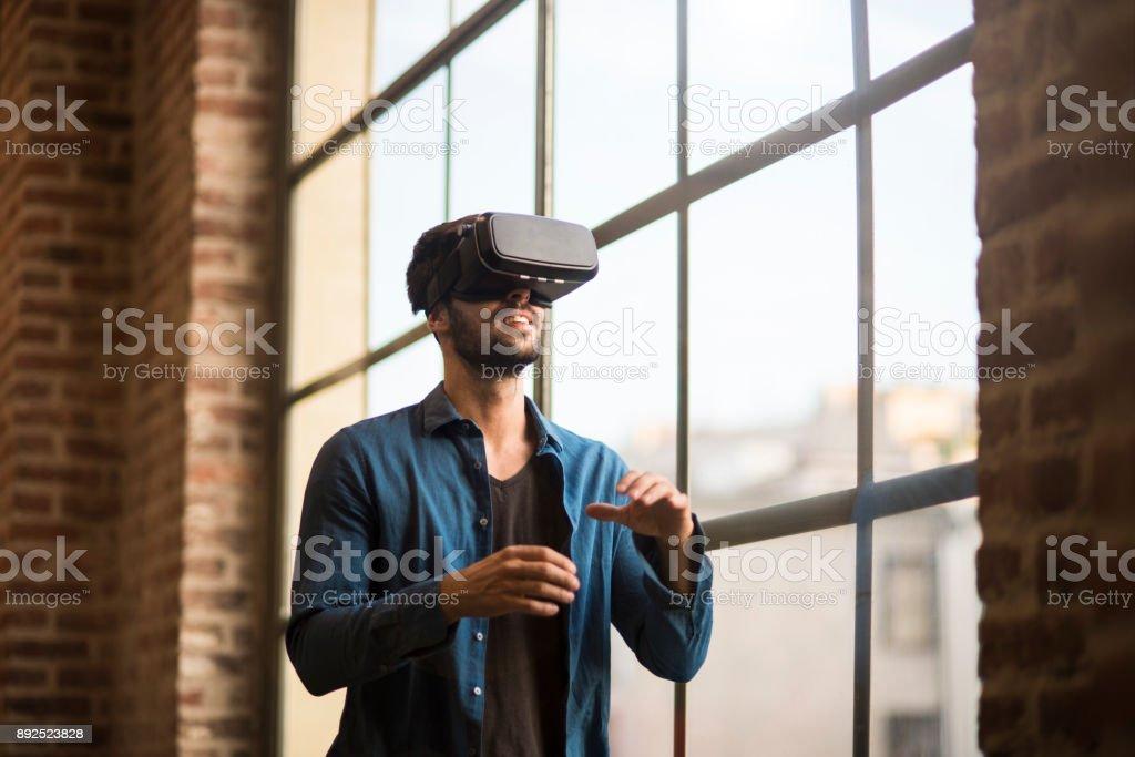 Using virtual reality. stock photo