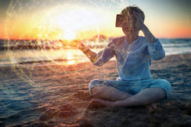 using vr headset outdoors at sunset - plexus stock photos and pictures