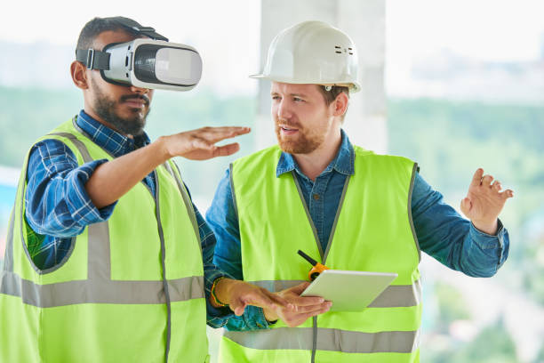 using vr simulator for building visualization - virtual reality stock pictures, royalty-free photos & images