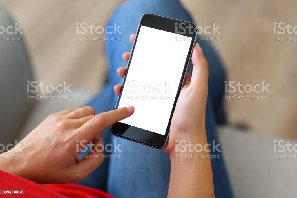 Using white screen smart phone royalty-free stock photo