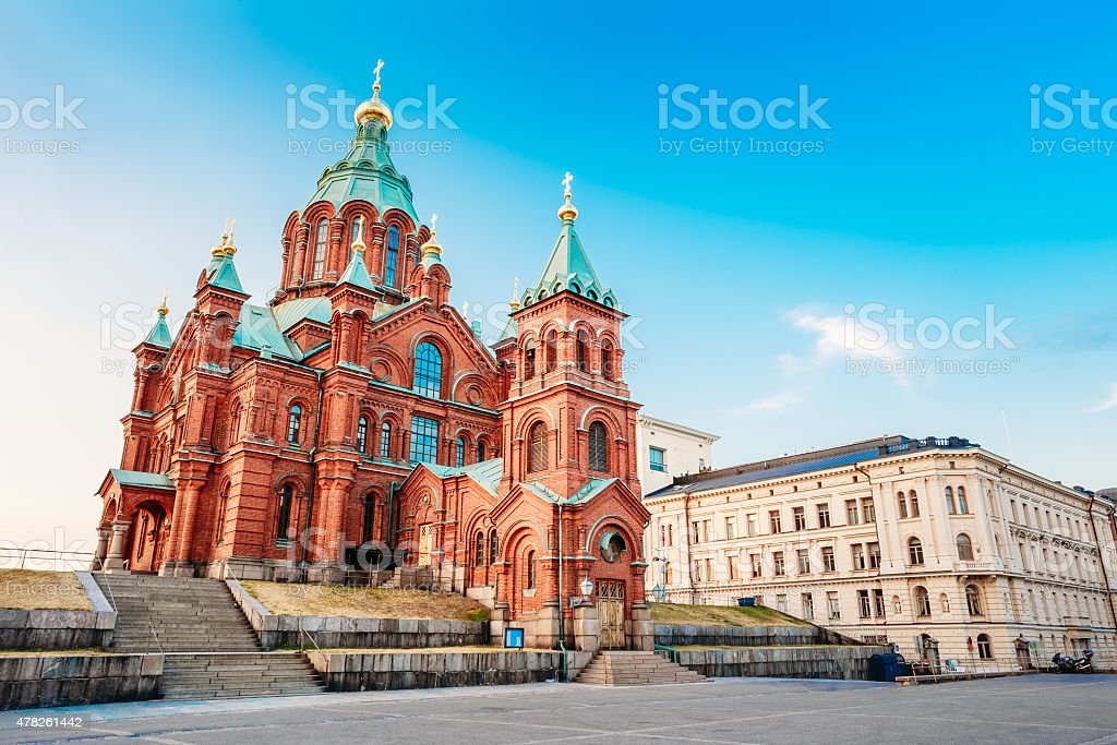 Uspenski Cathedral, Helsinki At Summer Sunny Day. Red Church In stock photo