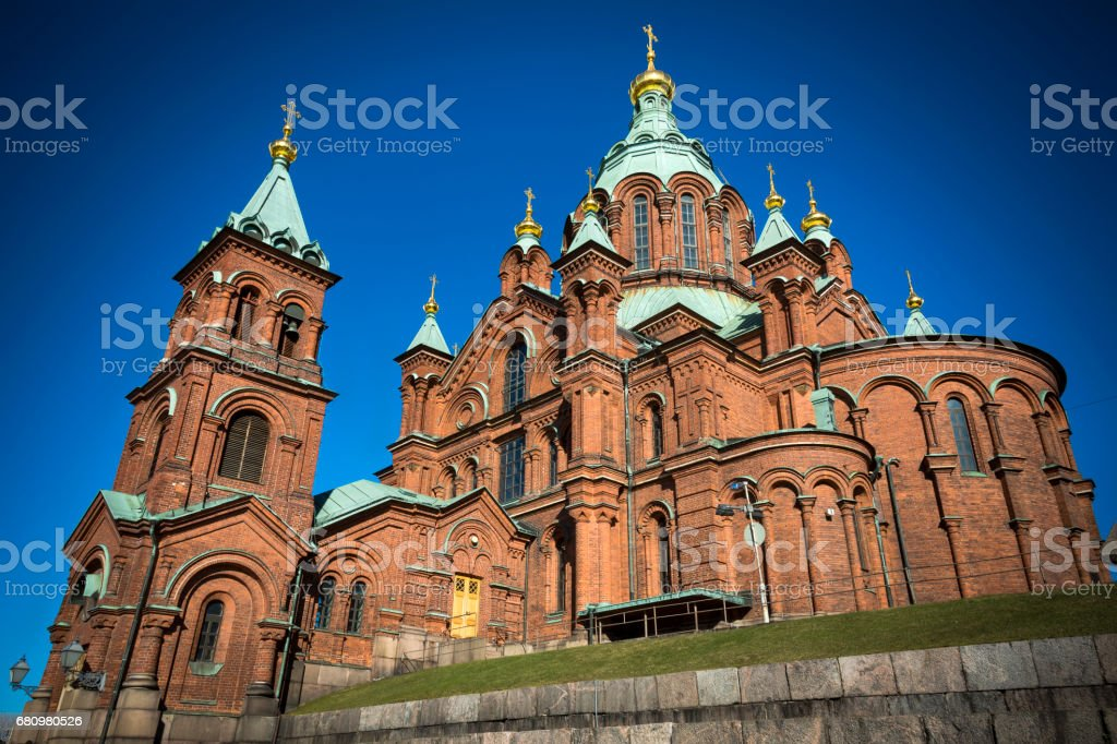 Uspenski Cathedral in sunshine in the Finnish capital Helsinki royalty-free stock photo