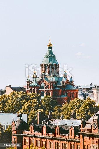 Uspenski Cathedral view in Helsinki religion Finland landmarks cityscape traditional architecture