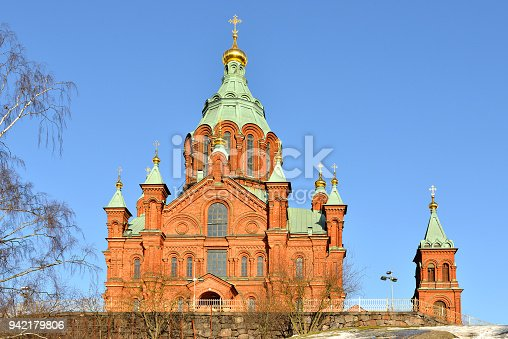 Uspensky Cathedral in Helsinki. Built 1868, it is largest Orthodox Cathedral in Western Europe. Spring