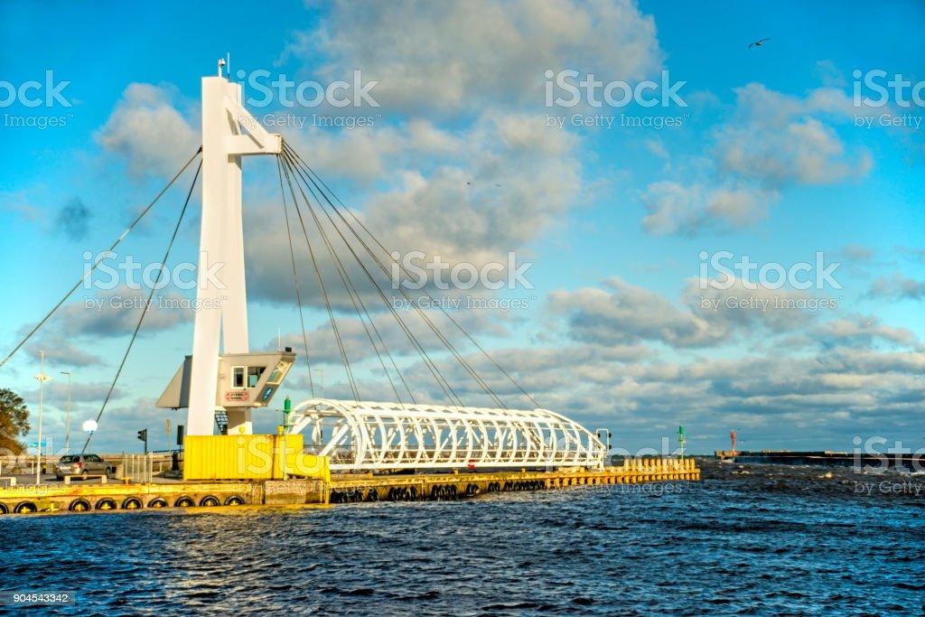 Ustka, Poland with modern swing bridge stock photo