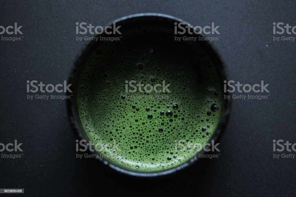 Usucha in a black bowl stock photo