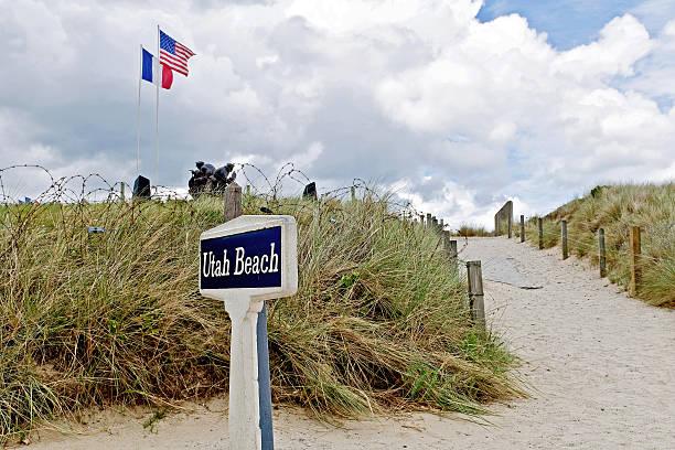 Spiaggia di Utah di Normandia Francia - foto stock