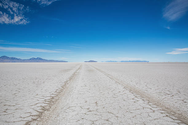 Utah Bonneville Salt Flats SUV Car Tire Tracks Desert Car Tire Track to the horizon under blue sky in the Salt Flats Desert close to Bonneville, Salt Lake City, Utah, USA. bonneville salt flats stock pictures, royalty-free photos & images