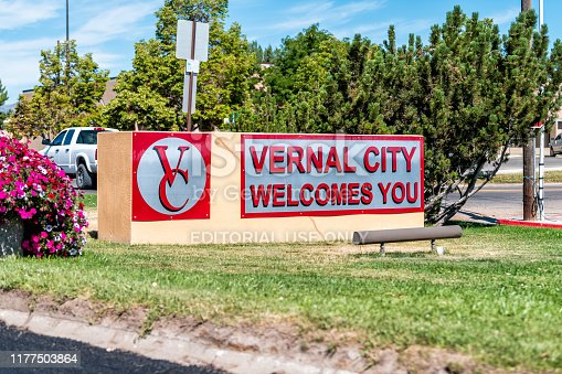 Vernal, USA - July 23, 2019: Utah city historic town with welcome sign on road closeup with logo symbol