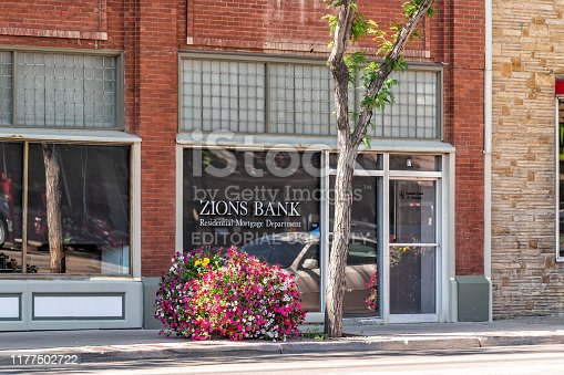 Vernal, USA - July 23, 2019: Utah city street with Zions Bank in town near Dinosaur National Monument in summer with flower decorations