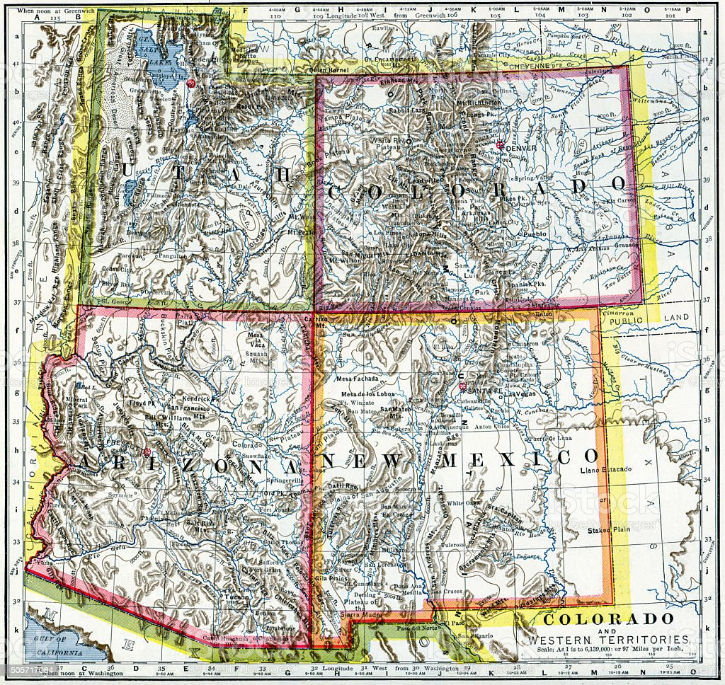 Map Of Arizona Utah Border.Utah Colorado Arizona New Mexico Map 1883 Stock Photo More