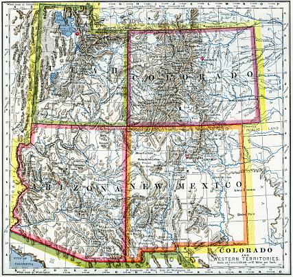 Utah Colorado Arizona New Mexico Map 1883 Stock Photo