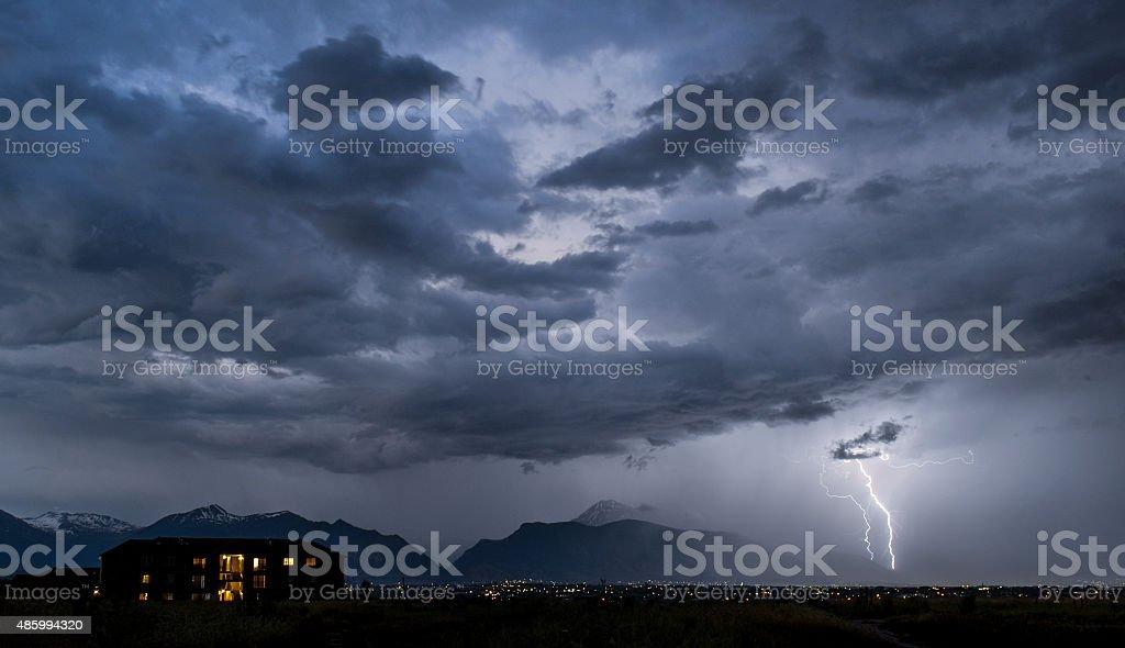 Utah County Lightning Strike stock photo