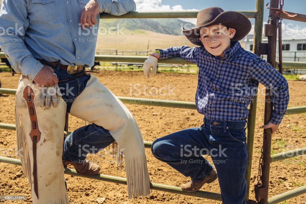 Utah cowboy father and son stock photo