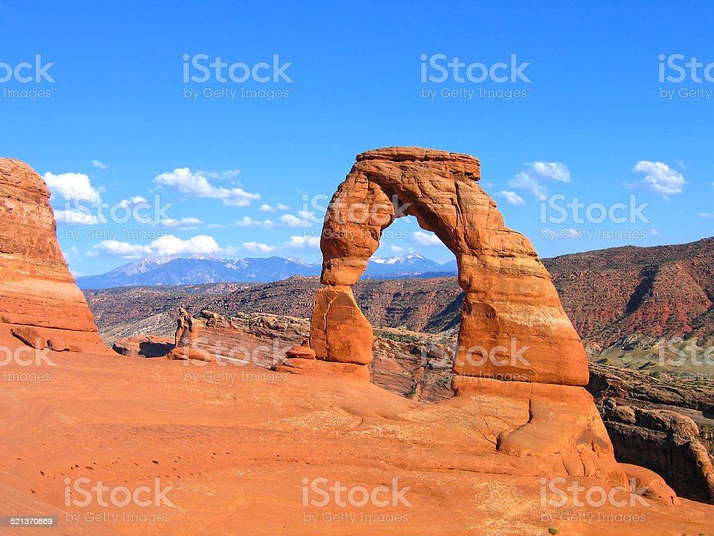 Utah, Delicate Arch in Arches Usa National Park, United States stock photo