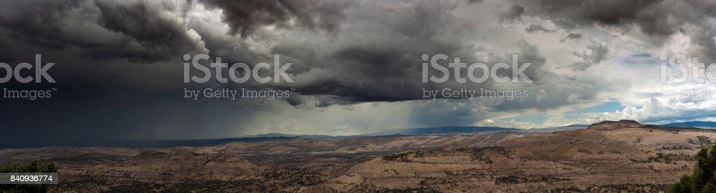 Utah- Huge Summer Thunderstorm Panorama stock photo