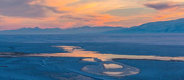 Utah Lake Frozen Colors stock photo