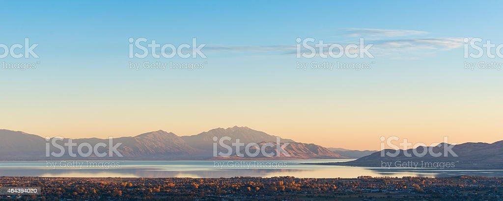 Utah Lake Southerly view of Utah Lake at sunset - image taken October 2014 2015 Stock Photo