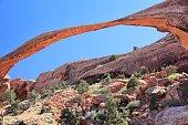 Arches National Park in Utah, USA. Landscape Arch rock landmark.