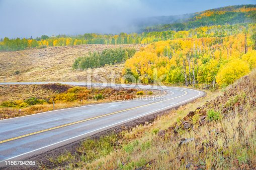 Stock photograph of Utah Scenic Byway 12 at Boulder Mountain in Grand Staircase Escalante National Monument on a rainy autumn day.