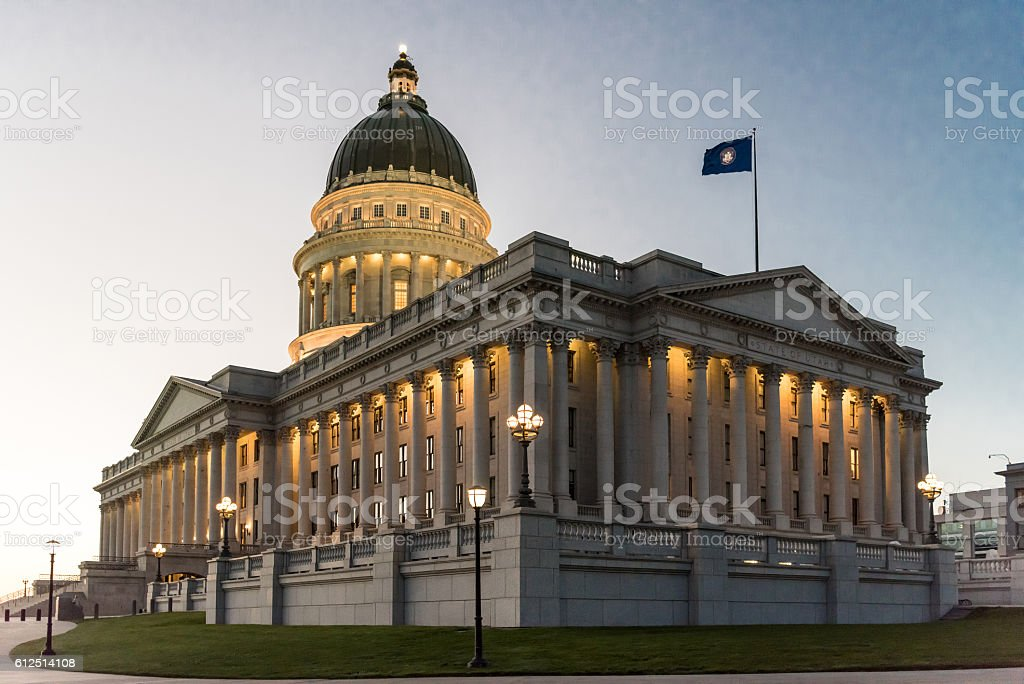 Utah State Capitol at Sunset stock photo