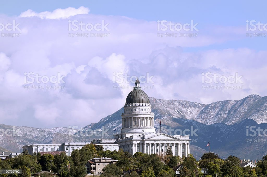 Utah State Capitol Building Against the Wasatch Mountains stock photo