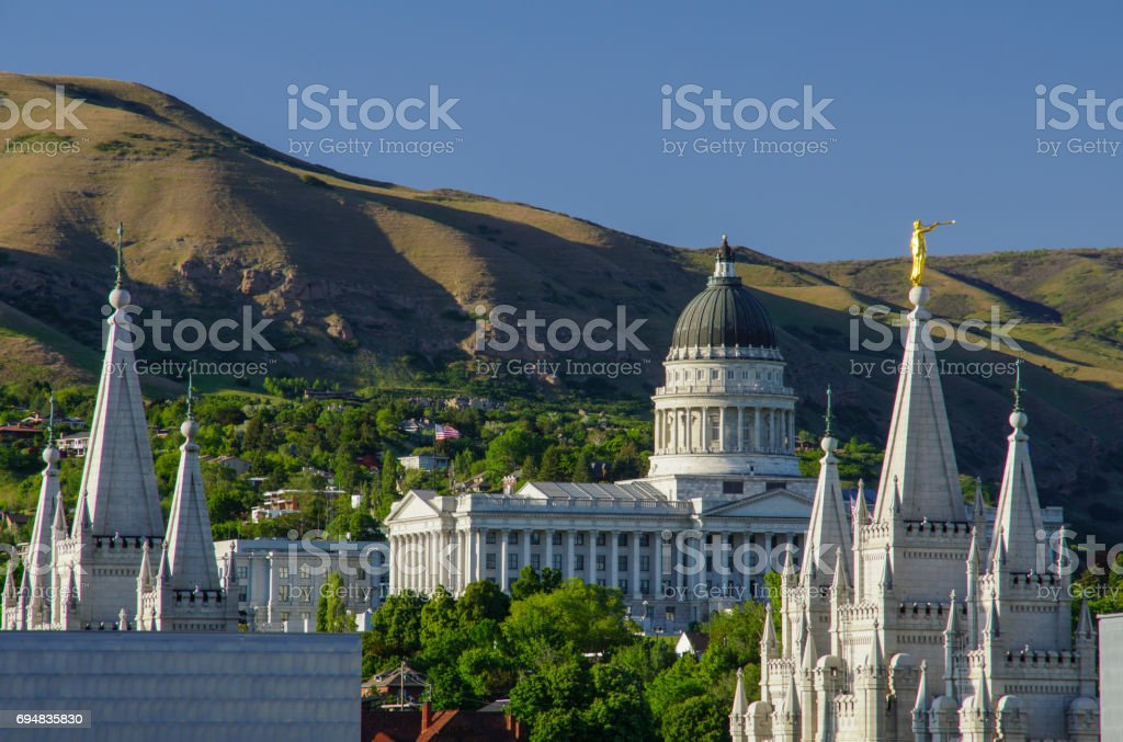 Utah State Capitol Building and Mormon Temple in Salt Lake City stock photo