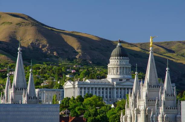 Utah State Capitol Building and Mormon Temple in Salt Lake City stock photo