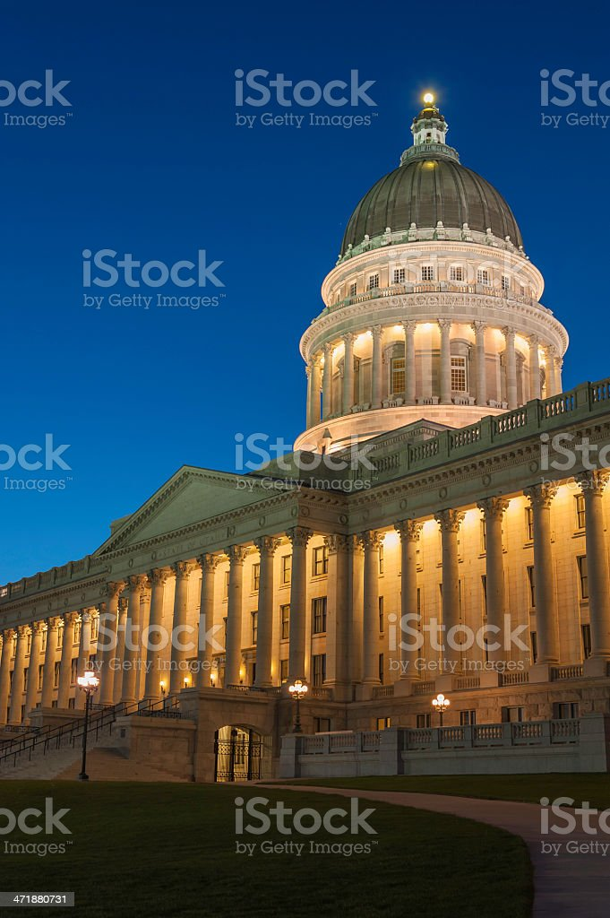 Utah State Capitol building magnificent dome colonnade illuminated at dusk royalty-free stock photo
