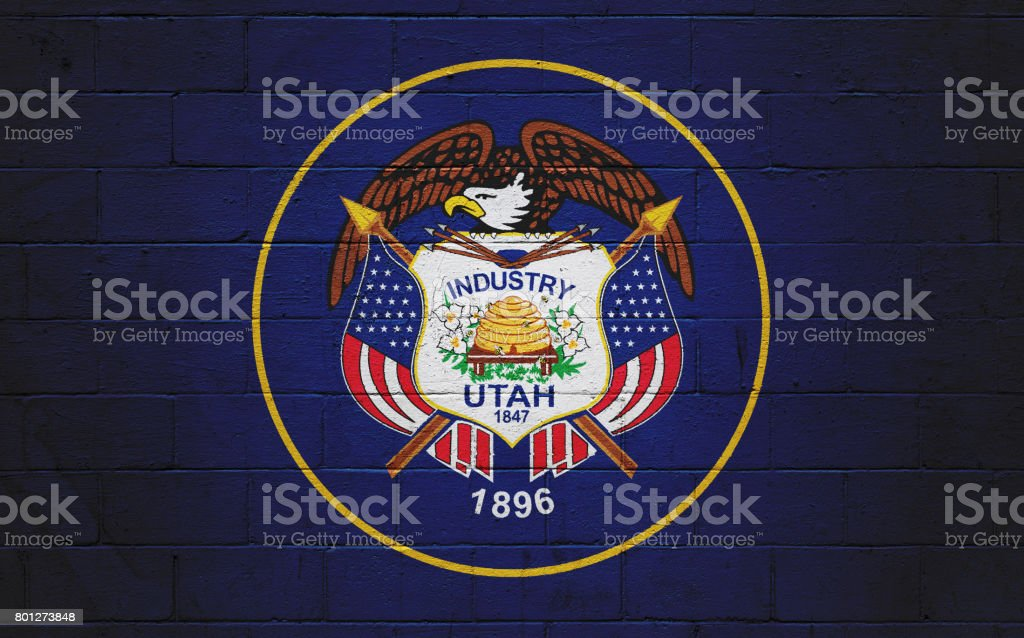 Utah state flag painted on a wall stock photo