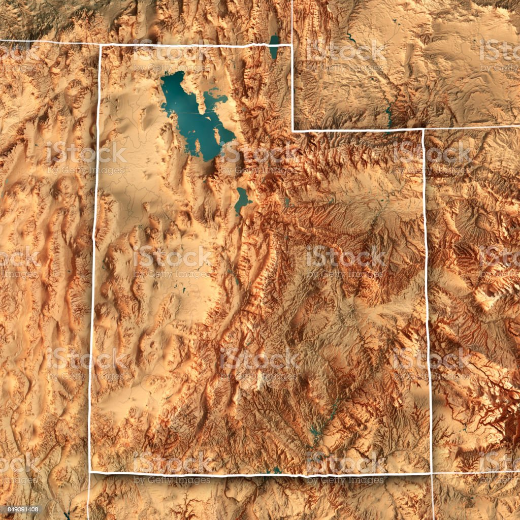 Utah State Usa 3d Render Topographic Map Border Stock Photo More