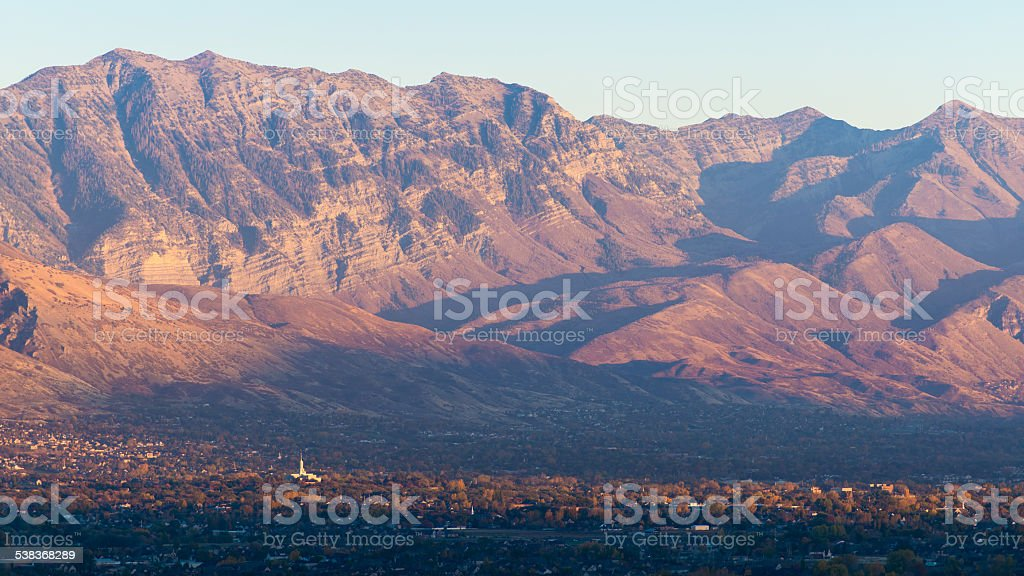 Utah Wasatch Mountains with Mount Timpanogos LDS Temple stock photo