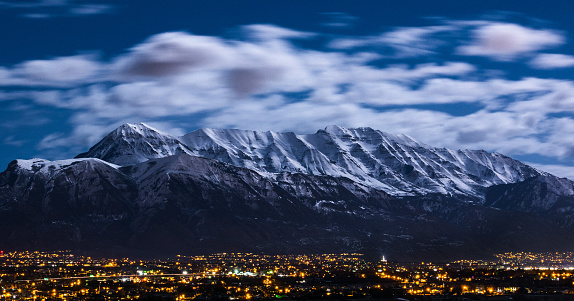 Utah Winter Mountains In Moonlight Over City Stock Photo - Download Image Now