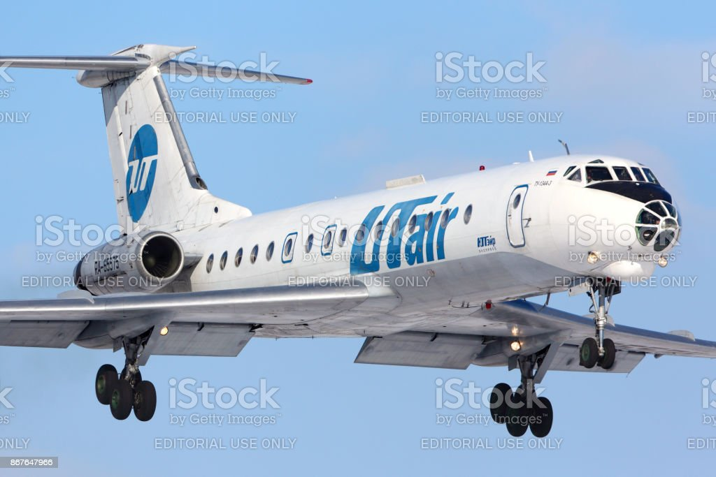 Utair Tupolev Tu-134 landing at Vnukovo international airport. stock photo